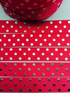 Silver 7/8 22mm HOT PINK reddish Blinky Polka by ribboneriexpress
