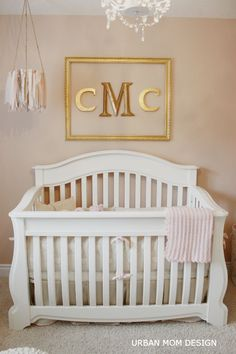 Simple, yet Glam Baby Girl Nursery - love the framed monogram over the crib! Gold Nursery, Nursery Room, Nursery Decor, Nursery Ideas, Room Ideas, Gold Kindergarten, Big Girl Rooms, Baby Rooms, Everything Baby