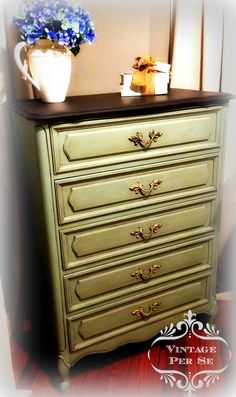 Henry Link French Provincial 5-drawer chest. Annie Sloan Duck Egg - Graphite - Dark Wax.  Available from Vintage Per Se.