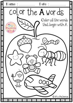 Free Alphabet Letter of the Week is designed to help teach letter A for children who are learning their letters. This set contains pages of variety activities, games and worksheets. Preschool Worksheets Kindergarten Worksheets First Grade Worksheets First Grade Worksheets, Alphabet Worksheets, Kindergarten Letter Worksheets, Handwriting Worksheets, Alphabet Coloring Pages, Handwriting Practice, Alphabet Words, Letter A Words, Alphabet Crafts