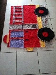 Fire truck rag quilt by GrannyAppleCreations on Etsy, $175.00