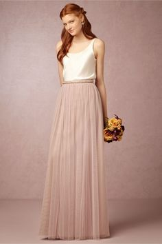 (in rose quartz w/ separate belt & camisole. like the green one too. up to size 18) Louise Tulle Skirt in New at BHLDN