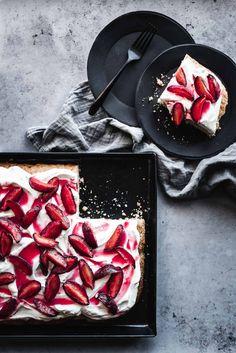 ... roasted plum sheet pan shortcake ... #recipe #cake