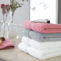 Christy Supreme Hygro 650gsm Cotton Towels - White, Pink & Grey