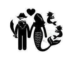 Pirate and Mermaid Couple Family Vinyl Decal Sticker // Choose the Number of Babies // Car Decal // Tumbler Sticker // Customized Decal by TaylorMadeTreasureUS on Etsy Tumbler Stickers, Yeti Stickers, Family Car Decals, Family Cars, Baby Glitter, Pirate Crafts, Finding A Hobby, Baby Mermaid, Vinyl Projects