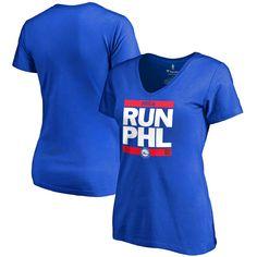 Philadelphia 76ers Women's RUN-CTY Slim Fit V-Neck T-Shirt - Royal - $31.99