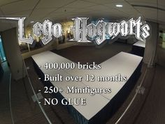 After making several trips to get all the large parts, it took 3 hours to assemble it. Lego Hogwarts was on display in Seattle at Emerald City Comic Con Harry Potter Gif, Harry Potter Books, Lego Hogwarts, Lego Videos, Yer A Wizard Harry, Emerald City, Lego Pieces, Lego Brick, My New Room