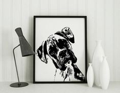 Boxer Art Print, Wall decor, pet lover gift, Boxer Silhouette, Modern, black and white, dog