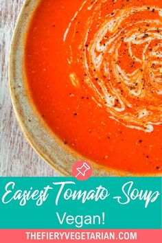 This easy creamy homemade vegan tomato soup recipe is the best tomato soup recipe you can make from pantry essentials in under half an hour! Simple and quick, make the best tomato soup ever without chopping or blending. No muss, no fuss, just throw eight ingredients (including coconut milk - don't worry you can't taste it) in a pot and cook for 20 minutes. Done! What will you serve with yours? Vegetarian Lunch Ideas For Work, Easy Vegan Lunch, Quick Easy Vegan, Vegan Lunches, Vegan Meals, Vegan Mushroom Soup, Vegan Tomato Soup, Vegan Stew, Tomato Soup Recipes