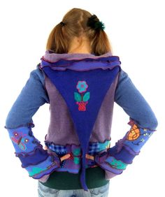 Purple and Blue Embroidered Pixie hoodie  Medium  by Fairytea