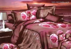 Bordowa pościel z satyny bawełnianej w różowe róże