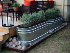 Galvanized Trough, Trough Planters, Garden Troughs, Garden Planters, Fall Planters, Backyard Patio, Backyard Landscaping, Pergola Patio, Backyard Ideas