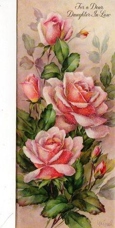 vintage birthday card Pink Roses