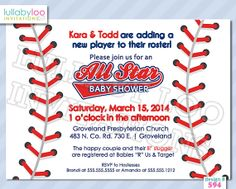 Baseball Baby Shower Invitations 594 Printed By LullabyLoo On Etsy, $20.00 # Baseball # Baby