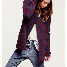 Free people textured plaid jacket💋 This burgundy and blue plaid jacket is so awesome it's a large and fits a true size 12 if your looking for the baggy boyfriend look and don't wear a large than this is for you super cute👏👏👏👏👏👏👏👏👏also see the bundled with free people mountaineers button up front pants and save Free People Jackets & Coats