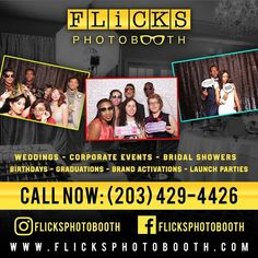 Take a pic with FLICKS! Contact Flicks Photobooth for all your event needs. Get a Quote today!  #PhotoBooth #TheKnot #WeddingPhotos #DavidsBridal #WeddingWire #PhotoBooth #BookNow #Graduation #Sweet16 #FlicksPhotoBooth #PhotoBoothCT