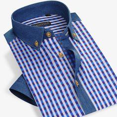 best authentic 43465 b0418 39.65  Estilo del verano Hombres Camisa A Cuadros de Algodón de Manga Corta  Camisa de Vestir Casual Slim Fit Famosa Marca de Moda Más Tamaño 4XL Alta  ...