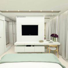 Painel de TV do quarto de Casal interligado a uma linda penteadeira! Projeto @domearquitetura da nossa #GeraçãoCarolCantelli ❤☺