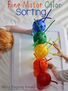Fine Motor Color Sorting for Preschool and Toddlers from Still Playing School