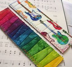 Hand Dyed Fabric Bookmark GUITAR STRINGS by RubyMountainDyeWorks