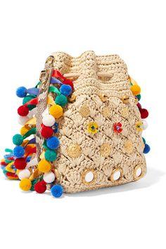 Dolce & Gabbana | Mini python-trimmed embellished raffia bucket bag | NET-A-PORTER.COM