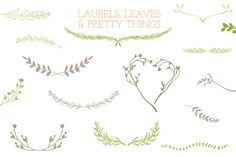 Laurel Frames, Leaves, And Stems Graphics These laurel, leaves, and stems clip art and vectors were hand drawn for your use and enjoyment. Inc by Angie Makes Pencil Illustration, Graphic Illustration, Illustrations, Bow Image, Framed Leaves, Image Deco, Wreath Drawing, Free Graphics, Creative Sketches
