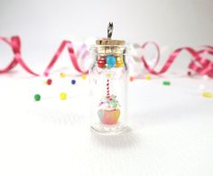 Miniature Polymer Clay Cupcake in a Bottle Birthday by ChikoCraft, $34.00