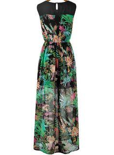 Vestido suelto floral plisado sin manga-negro y verde 19.36