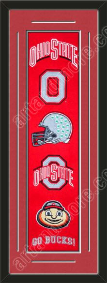 This framed Ohio State University heritage banner, double matted in team colors to 12 x 36 inches. The lines show the bottom mat color. $139.99 @ ArtandMore.com