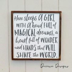 Here sleeps a girl with a head full of magical dreams - Framed Wood Sign - Girl… Piper's Room Girl Nursery, Girls Bedroom, Nursery Decor, Girl Toddler Bedroom, Kids Bedroom Ideas For Girls Toddler, Room Girls, Kid Bedrooms, Bedroom Stuff, Budget Bedroom