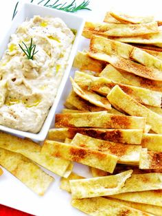 Rosemary Olive Oil Pita Strips with Tuscan White Bean Dip