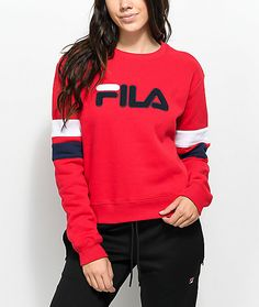 d64dd92657c3 FILA Newton Red Crew Neck Sweatshirt Crew Neck Sweatshirt