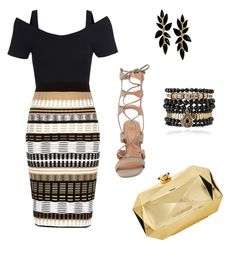 """""""Black and gold"""" by elena-krivitz on Polyvore featuring River Island, VC Signature, Samantha Wills and Love Moschino"""