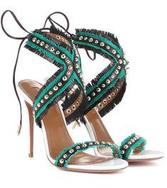 Aquazurra - Sandales en cuir blanc ivoire, vert et noir