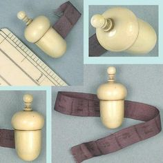 Tiny French Antique Carved Acorn Tape Measure; Circa 1830