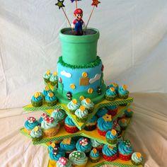 Super Mario Bros cake..mostly for the cupcake idea.
