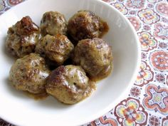 Swedish Meatballs - Gluten-free meatballs in a savory gravy sauce. ***Change up sauce to add coconut flour and coconut milk instead of what is asked for. Paleo Recipes, Low Carb Recipes, Real Food Recipes, Meat Recipes, Free Recipes, Recipies, Yummy Food, Gluten Free Meatballs, Keto Meatballs