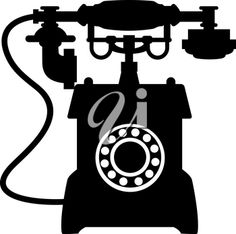 Black and white illustration of the silhouette of an old vintage telephone with a mouthepiece handset resting on a cradle
