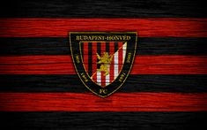 Download wallpapers Honved FC, 4k, Hungarian Liga, soccer, NB I, football club, Hungary, Budapest Honved, football, wooden texture, FC Honved