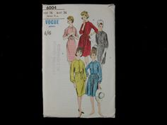 Dressmaking pattern; Vogue - No.6004 - One piece dress pleated or straight skirt. Paper pattern.