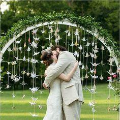 outdoor wedding backdrops | Cascading Birds Backdrop -- unique for an outdoor wedding!