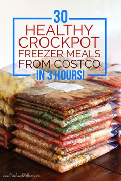 Prep for baby! 30 Healthy Crockpot Freezer Meals from Costco in 3 Hours. Print FREE recipes, grocery lists, and freezer labels! Slow Cooker Freezer Meals, Make Ahead Freezer Meals, Crock Pot Freezer, Crock Pot Slow Cooker, Freezer Cooking, Crock Pot Cooking, Slow Cooker Recipes, Cooking Recipes, Costco Crockpot