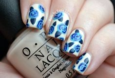 """Blue Roses mani Canadian nail blogger Kyla Shevonne created using our Euro Centrale shades """"My Vampire Is Buff,"""" """"Can't Find My Czechbook,"""" """"I Saw...U Saw...We Saw...Warsaw"""" and """"OPI...Eurso Euro."""""""
