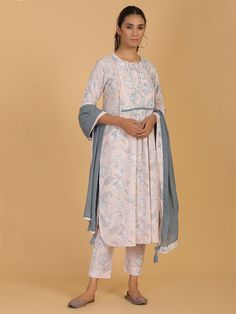 Buy Grey Cotton Mul Kurta with Light Pink Printed Pants and Dupatta- Set of 3 online at Theloom Latest Kurti Design LATEST KURTI DESIGN : PHOTO / CONTENTS  FROM  IN.PINTEREST.COM #FASHION #EDUCRATSWEB