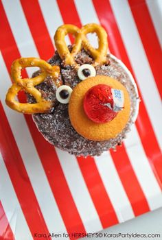 Reindeer Holiday Cupcakes made with Hershey's Kisses by Kara Allen KarasPartyIdeas.com