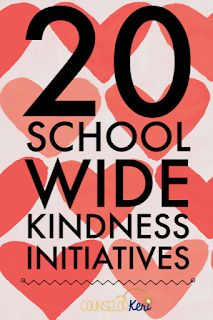 20 School-Wide Kindness Initiatives 20 school-wide kindness Initiative ideas from school counselors for random acts of kindness week or any other time you want to promote kindness through your school counseling program! Elementary School Counseling, School Social Work, School Counselor, Elementary Schools, Group Counseling, Primary Education, High Schools, Health Education, Physical Education