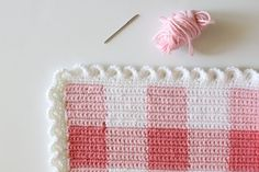 Crochet Pink Gingham Blanket | Daisy Farm Crafts