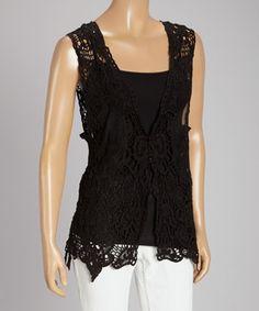 Look what I found on #zulily! Black Sheer Crochet Linen-Blend Vest by Pretty Angel #zulilyfinds