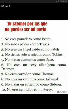 10 razones porque no puedes ser mi novio