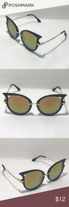 Gold Lens Cateye Sunglasses 1 Pair of Stylish Cateye Sunglasses    Black/Gold Frame    Gold Lenses    Metal & Plastic Frame    High Quality    100% UV Protection    Women  1 Black Microfiber Pouch  Ships: Within 24 hours of purchase Mon-Sat. Orders on Sundays/Holidays ship next business day.  ShadeME - 9030 Accessories Sunglasses